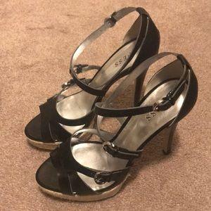 High heel black patent platform sandal